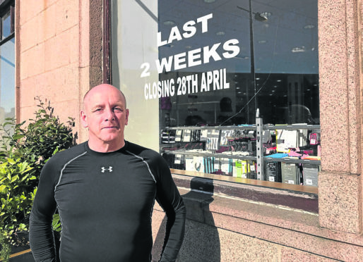 DFS owner Graham Brownie outside the Peterhead store which will close at the end of this month.