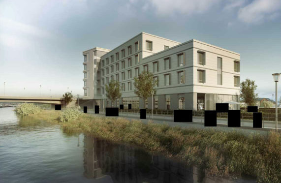 Artist impression of a hotel to be built on Glebe Street in Inverness, on the former swimming pool site.