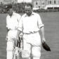 Bradman walks off after scoring 123 not out in his last innings on British soil. Other player in pic is W. A. Brown.