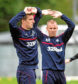 08/09/16   RANGERS TRAINING   THE RANGERS FOOTBALL CENTRE - GLASGOW   Rangers' Lee Wallace (left) with Kenny Miller
