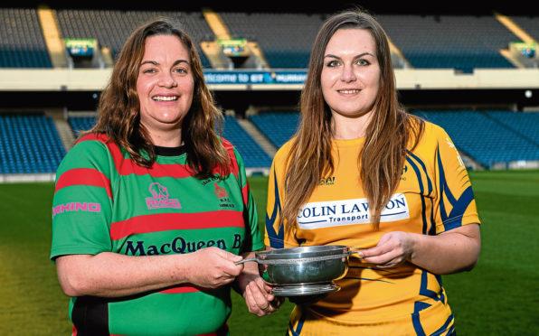 09/04/18   BT MURRAYFIELD - EDINBURGH  The Scottish Rugby Union Silver Saturday Photocall.     BT Women's Bowl Final - Laura McCormack (Oban Lorne) and Jess Silcocks (Garioch)