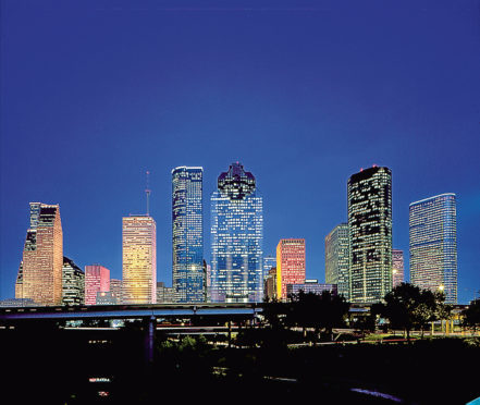 Houston's downtown skyline at night