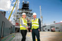Deirdre Michie of Oil & Gas UK and Atlantic Offshore Scotland MD Matthew Gordon aboard  Ocean Osprey