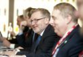 Secretary of State David Mundell visits Gordon and MacPhail in Elgin to discuss matters with business leaders.  Photo by Michael Traill