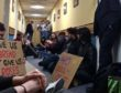 The students lived in a corridor of Aberdeen University's administration building for nine days.