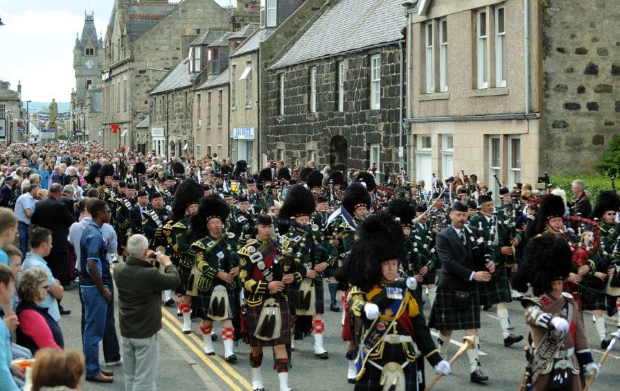 A Gordon Highlanders Homecoming parade in Huntly.