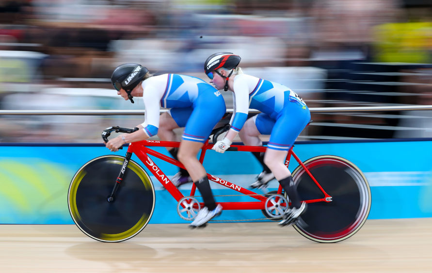Scotland's Louise Haston (left) and Aileen McGlynn compete in the Women's B&VI sprint finals.