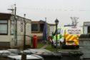 The scene of the fatal fire at Woodlea Caravan Park, outside Arbroath.