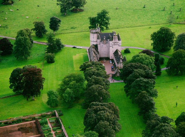 An aerial view of Castle Fraser