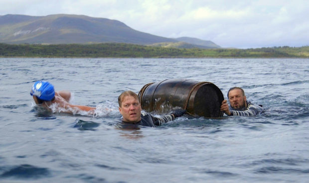 Chad Anderson, Justin Fornal and Johnnie Mundell with the unigue cask from eight Islay distilleries