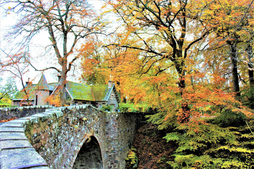 The Elgin Bridge over the River Deveron behind Huntly Castle