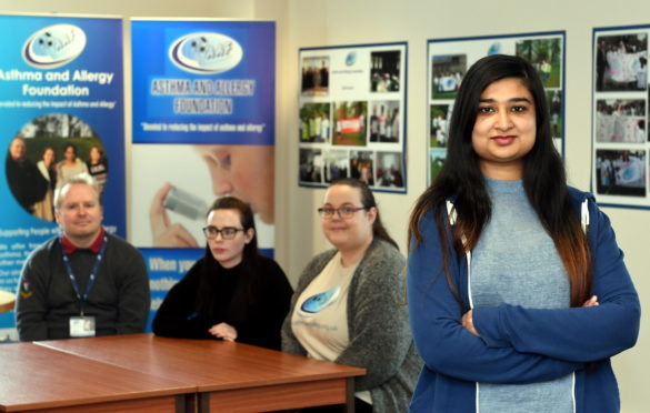 Suna Qasim, Marketing / Fundraising Officer with the Asthma and Allergy Foundation, Pitmedden Road, Dyce, Aberdeen, the only charity of this kind in Scotland.