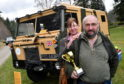 Ted and Fiona Riley with his Land Rover 101 Forward Control, a military vehicle which served in the Gulf War