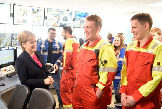 First Minister Nicola Sturgeon yesterday morning opened the expansion of the Norbord Mill at Dalcross near Inverness.    Picture by Sandy McCook.