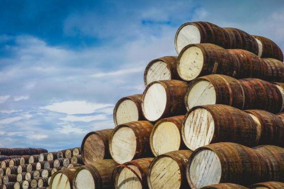 Whisky casks in Speyside.
