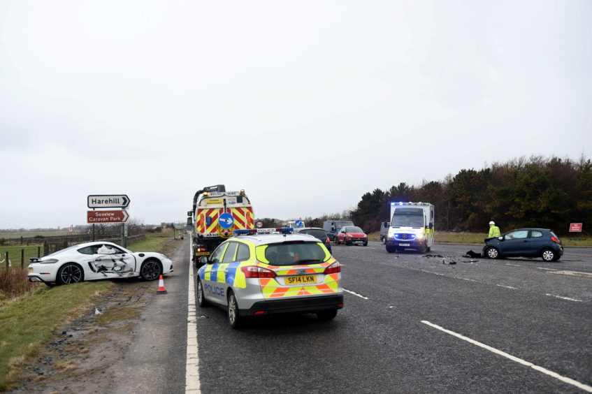 Pictured is the two car rtc on the A90 near the junction with Tarbothill Farm Cottages, Aberdeen.
