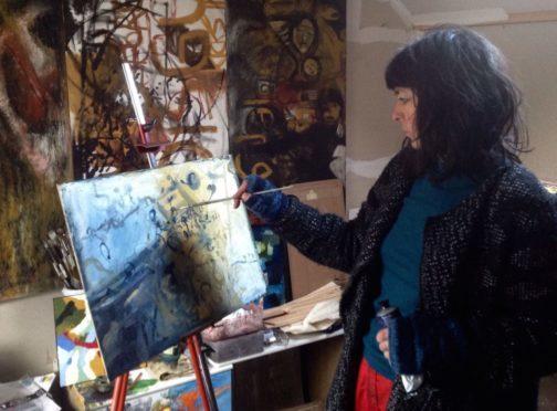 Scottish painter Rachel Bride Ashton in action
