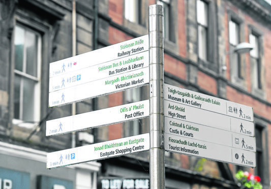 Pedestrian signs in Inverness City centre.