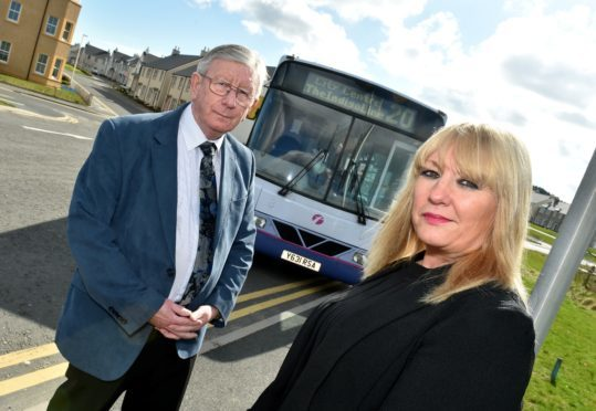 Councillors Sandy Stuart and Alison Alphonse at the bus terminus near Shielhill Avenue Bridge of Don. Since First Bus withdrew its X40 service Bridge of Don has no direct bus to and from the ARI.