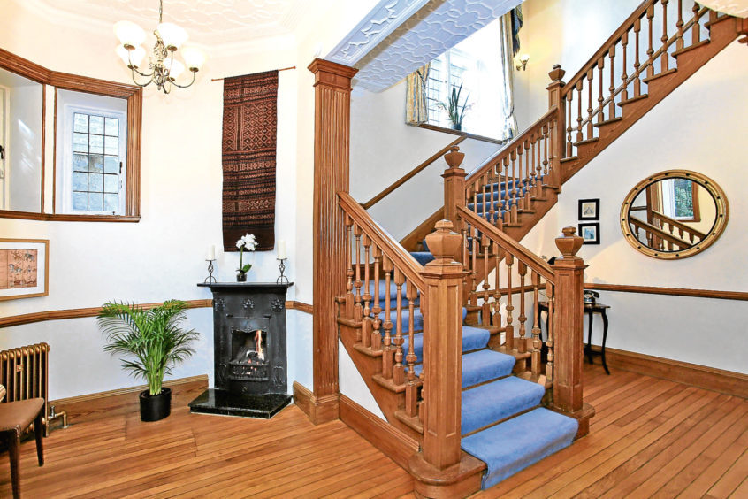 The staircase is imposing and grand