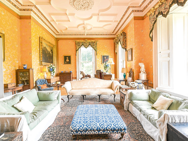 The formal reception rooms are decorated in heritage colours, with luxurious fabrics and textiles complementing the colour scheme