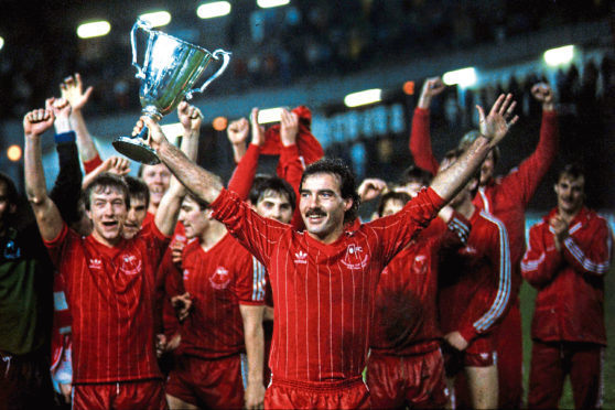 Aberdeen captain Willie Miller holds aloft the Cup winners Cup in 1983.