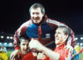 Alex Ferguson is held high by his players by winning the Cup Winners Cup with Aberdeen in 1983