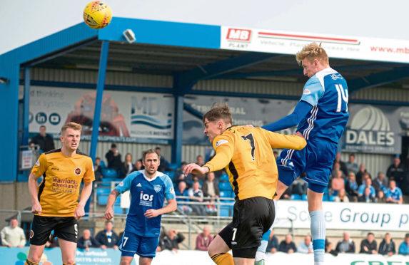 Russell McLean heads Peterhead's goal against Stenhousemuir