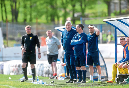 Pictured is Cove manager John Sheran in the dugout on Saturday's match. Picture by Darrell Benns