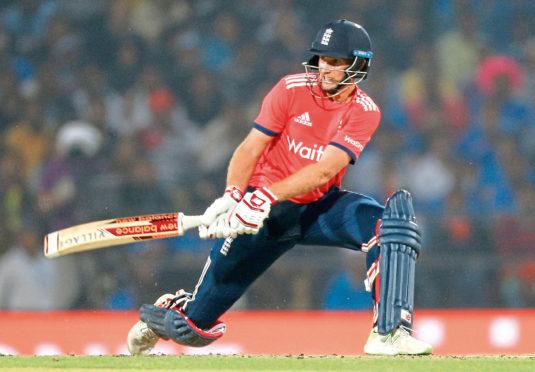 England cricket team player Joe Root bats during second T20 international match against India at Vidarbha cricket association stadium in Nagpur, India