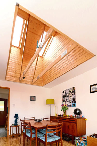 The vaulted ceiling with twin Velux windows