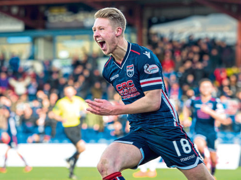 Ross County's Jamie Lindsay celebrates scoring the opening goal