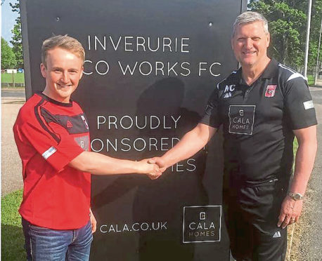 Jamie Michie with  Locos manager Neil Cooper.