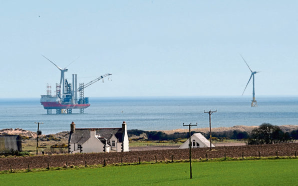 Pictured is a locator of Vattenfalls European Offshore Wind Deployment Center (EOWDC), Blackdog, Aberdeenshire. Picture by DARRELL BENNS     Pictured on 20/04/2018
