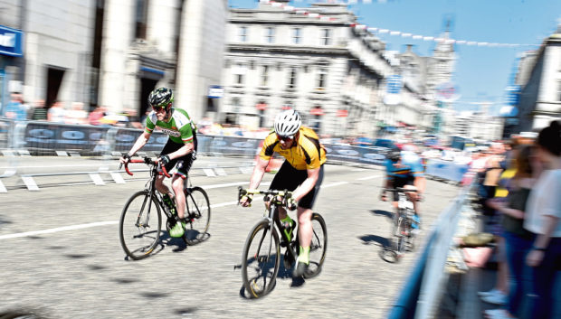 The Tour Series cycle event at Aberdeen. The Senior support race.  Picture by COLIN RENNIE