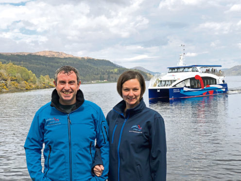 Ronald and Debi Mackenzie of Cruise Loch Ness with the new catamaran.