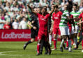 Shay Logan was sent off after the final whistle against Celtic.