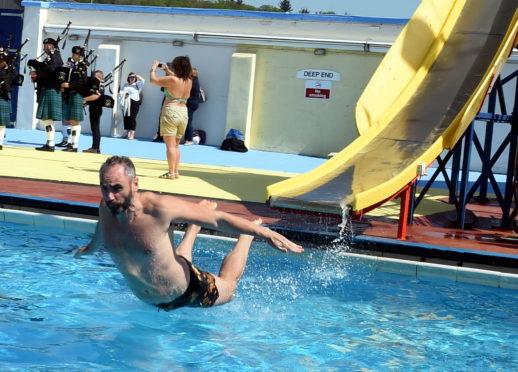 John Dickson having fun on the chute