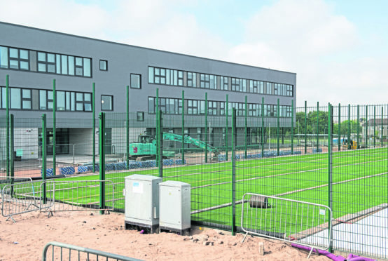 The new 3g pitch being installed at Elgin High School