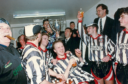 Elgin City's players celebrate winning the Highland League title in 1993 - before having their medals stripped days later.