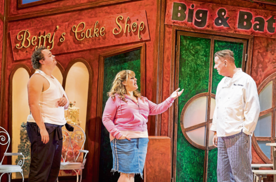 Joel Montague, left, Jodie Prenger and Kevin Kennedy star in the theatrical production of hit TV series Fat Friends
