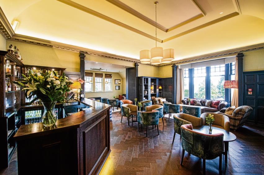 The stylish bar at Douneside House