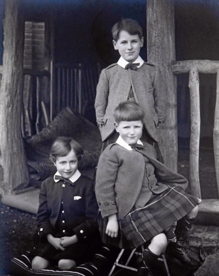 Lady MacRobert's three sons as children, Alasdair, top, Roderic, left, and Iain