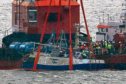 The Nancy Glen fishing trawler after its recovery from Loch Fyne at Tarbert, where it sank in January 2018