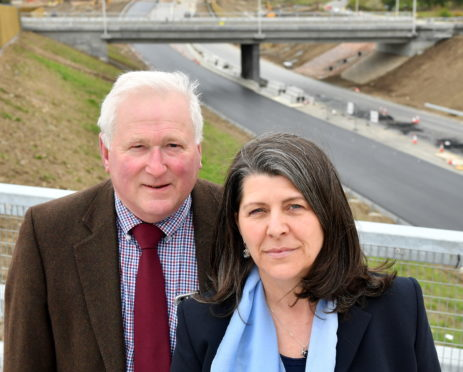 Aberdeenshire councillor Colin Pike and City Councillor Marie Boulton, pictured at the AWPR at Milltimber.