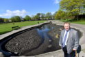 Councillor Bill Cormie at the ponds at Westburn Park, which have been neglected.