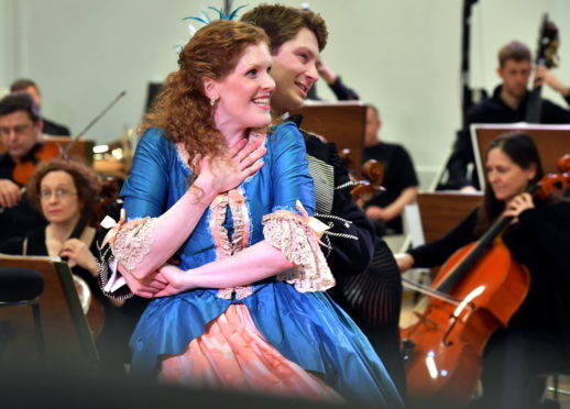 Opera cast members Sarah Power and Christian Schneeberber performing.     Picture by Kami Thomson