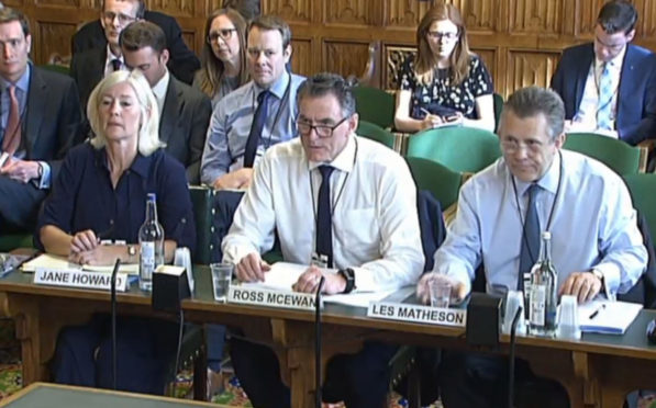 Jane Howard, RBS Managing Director, Personal Banking, Ross McEwan, RBS Chief Executive and Les Matheson RBS Chief Executive, Personal & Business Banking, giving evidence to the Scottish Affairs Committee on the banks plans to close more than 50 branches in Scotland.