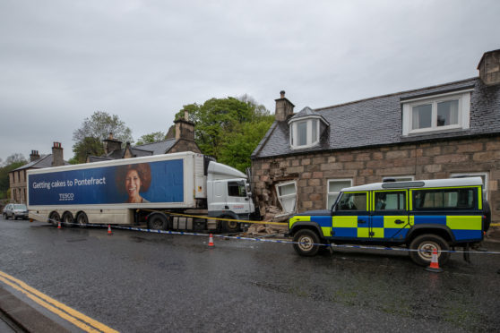 shock as lorry smashes into house in moray village press and journal