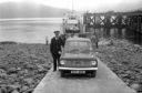 The late Inspector D.A. Morrison, Portree, with the first police vehicle to land on the Island of Raasay, 9th July 1975. Photo by: Northern Constabulary Museum Facebook